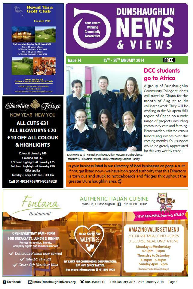 Issue 74 front page - 2th January 2014